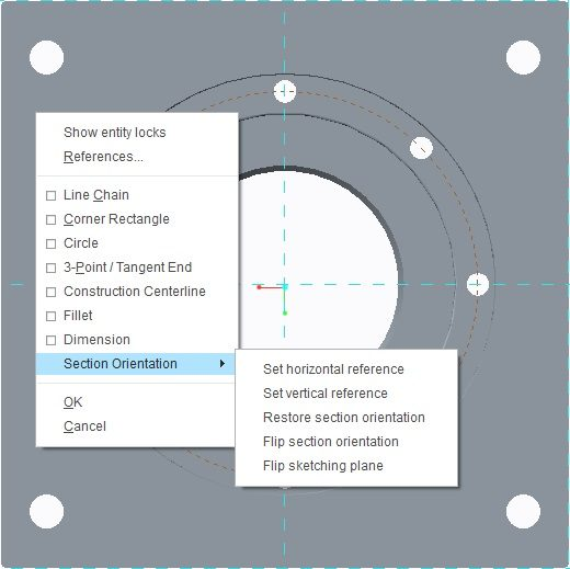 Making 2D orientation default for sketching in Creo